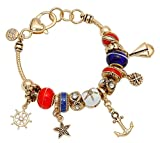 Rosemarie Collections Women's Red White Blue Glass Bead Charm Bracelet