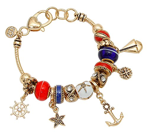 Rosemarie Collections Women's Gold Tone Nautical Anchor and Sailboat Pandora Style Charm (Boat Bracelet)
