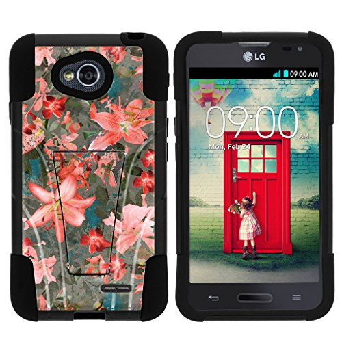 LG Optimus L70 Case | LG Ultimate 2 Case | LG Optimus Exceed 2 [Gel Max Cover] Dual Layer Hybrid Case Design Hard Shell Kickstand by TurtleArmor - Captivating Pink Floral