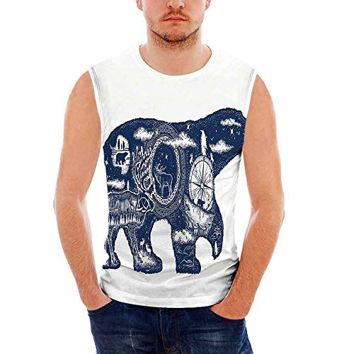 iPrint Mens Performance Muscle T- Shirts Cabin Decor,Cosmic