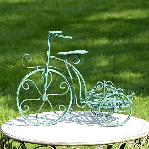 Iron Tricycle (Iron Tricycle Plant Stand Bronze and Green Colors (Verdi Green))