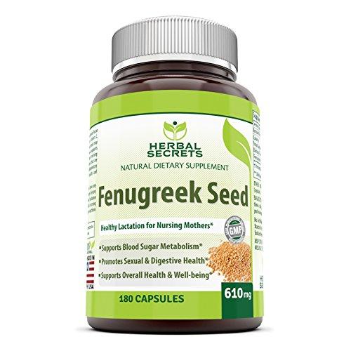 Graines de fenugrec Secrets Herbal supplément - 610mg gélules composées avec semences pures extrait - 180 comprimés par bouteille - tous les suppléments naturels pour soutenir la Lactation en bonne santé, la santé Digestive et le bien-être global
