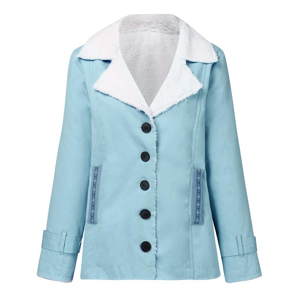 MERICAL Manteau d'hiver à Manches Plus Longues pour Femmes en Coton Chaud Bleu