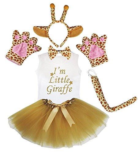 Petitebella Headband Bowtie Tail Gloves Shirt Skirt 6pc Girl Costume (Giraffe, 6-8 -
