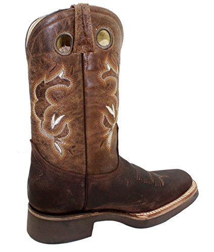 Dona Michi Uomo Cowboy Vera Pelle Di Vacchetta Punta Quadrata Rodeo Western Boots Moca