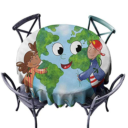 - Lgckeg Washable Tablecloth Earth Two Cute Kids Hugging Happy Planet Earth Bird and Hearts Embracing in Cartoon Style Multicolor Easy to Clean D43