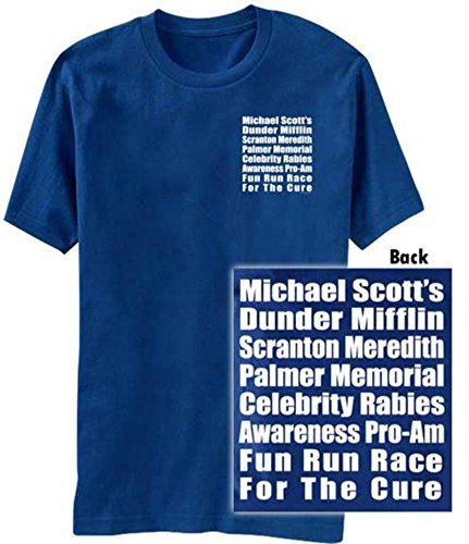 The Office Michael Scott's Fun Run Race Blue T-Shirt Tee, Small