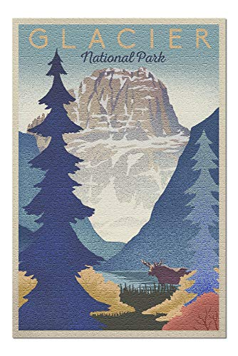 (Glacier National Park - Mountain Scene - Lithograph (20x30 Premium 1000 Piece Jigsaw Puzzle, Made in USA!))