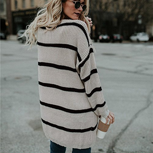 Long Winter Fashion Clothing Crochet Knitted Stripe Sleeve Tianya Womens Jacket Cardigan Sweater Autumn Beige Coat dwYCtxqHq