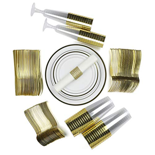 Disposable Fancy Dinnerware Set - TrueLook Tableware! 24 Plates, Cups, Flutes, Napkins, Napkin Rings and Silverware - White and Gold Plastic Plates for Parties, Wedding, Fancy Dinner ()