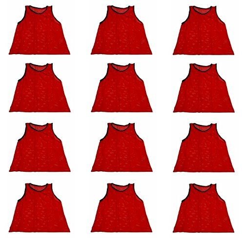 Mesh Training Bibs - Workoutz Adult Red Soccer Pinnies (Set of 12) Scrimmage Vests Mesh Training Bibs