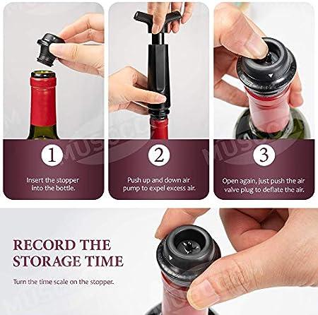 MUSCCCM Tapones Reutilizable Set de Vino Para El Vacío,Con 1 Bomba de Vacío , 6 Tapón de Vino de Vacío y 1 Vertedor de Vino, 1 Tin Foil Cutter,Adecuado Para Regalos a Familiares y Amigos