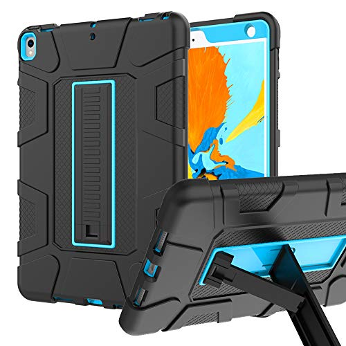 iPad Air 3 Case, iPad Air 3rd Generation Case, Hybrid Three Layer Armor Shockproof Rugged Drop Protection Cover Case Built With Kickstand for iPad Air 3 10.5 inch 2019 / iPad pro 10.5 (Black+Sky Blue)