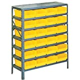 Edsal 42 in. H x 36 in. W x 18 in. D Plastic Bins/Small Parts Gray Steel Storage Rack with 24 Yellow Bins