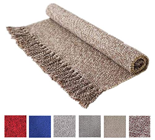 Cotton Reversible Laundry Room Rag Rug - Hand Woven Solid Color Chindi Area Rug Entryway for Kitchen Bathroom Bedroom Dorm (2' x 4.3', Coffee) (Small Rag Rugs)
