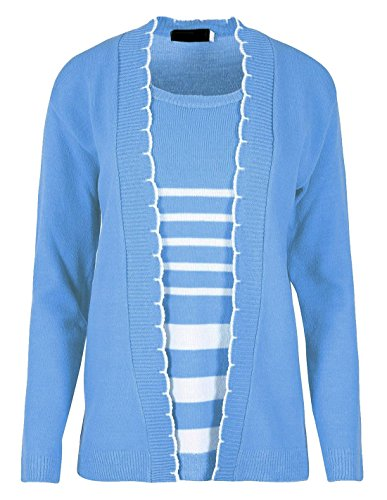 Ladies Sweater Insert Knitted Twin Set Jumper Womens Long Sleeve Casual Cardigan Sky Blue US 16-18