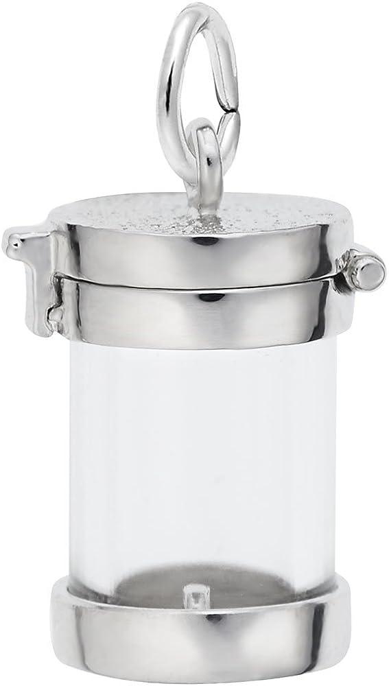 925 Sterling Silver Rhodium-plated Medium Artisan Block Letter Initial H Charm