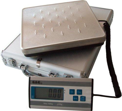G& G HCG-1 - Bilancia pesa-pacchi a piattaforma, da 50 g - 150 kg, valigetta in alluminio inclusa, alimentazione a pile GundG HCG-1-150
