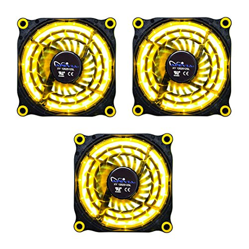APEVIA 312L-DYL 120mm Silent Black Case Fan with 15 x Yellow LEDs & 8 x Anti-Vibration Rubber Pads (3 Pk) - Best Value