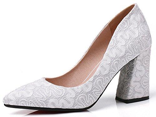 Idifu Womens Elegante Faux Suede Puntschoen Slip Op Hoge Blok Hiel Bruids Pompen Schoenen Wit