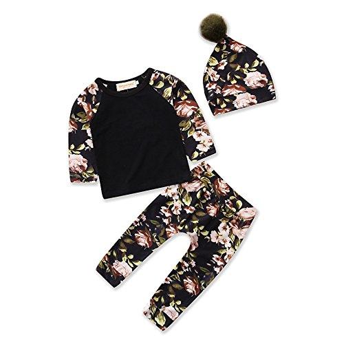 Boys Girls Clothing Set Floral Print Tops T-Shirt Pants Hat Cotton Baby Clothes