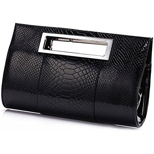 Handbag Pattern Tote Crocodile (Pumud Women's Stylish Bright Pu Leather Crocodile Pattern Tote Shoulder Handbag (Black))