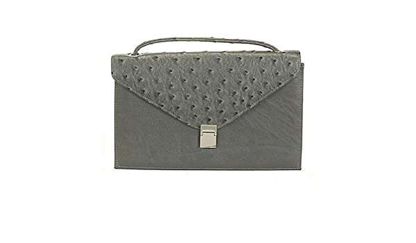 8b981453b3f1 Aryana Chic Gray Ostrich Texture Structured Single Strap Womens ...