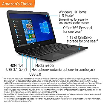 HP Stream 14-inch Laptop, Intel Celeron N4000, 4 GB RAM, 64 GB eMMC, Windows 10 Home in S Mode (14-cb159nr, Jet Black)