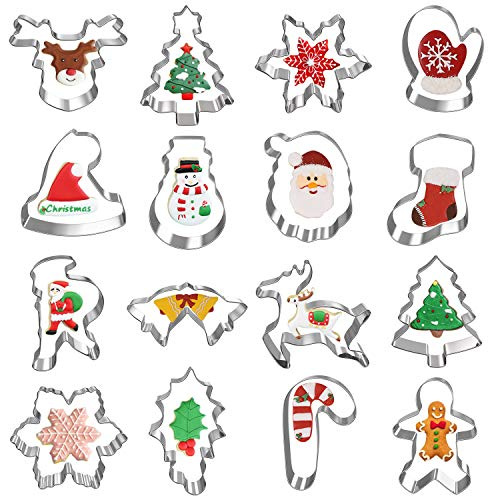 Christmas Cookie Cutters Hibery 16Piece Holiday Cookie Cutters Set Gingerbread Man Snowman Snowflake Cookie Cutter and More