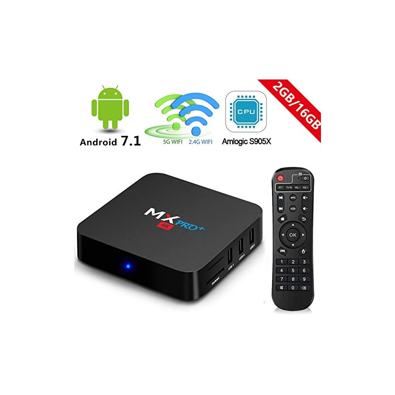 RBSCH MX Pro+ TV Box Android 7 1 2GB Ram 16GB ROM Amlogic S905 X 5G/2 4G  Dual Band WiFi with Bluetooth Ture 4K Playing Quad Core 64bits 2018 Android