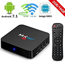 Android 7.1 TV Box 2018 2GB Ram 16GB ROM Amlogic S905X Quad Core 64bit 5G/2.4G Dual Band WiFi Support Bluetooth Ture 4K Playing with Remote MX Pro+ Android Box