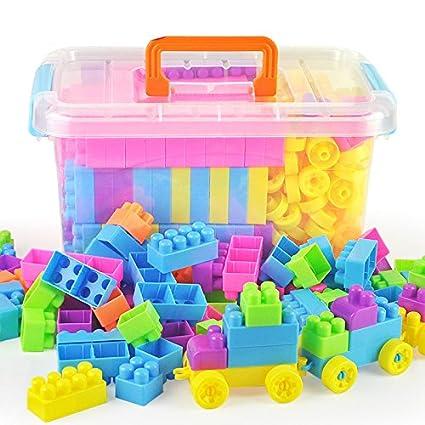 Amazon Com O Toys 96 Pieces Diy Interlocking Building Blocks Toy