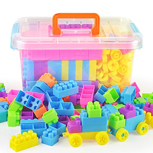 O-Toys 96 Pieces DIY Interlocking Building Blocks Toy Colorful Plastic Puzzle Construction Playset Creative Educational Stacking Blocks Toys Set for (Colorful Building)