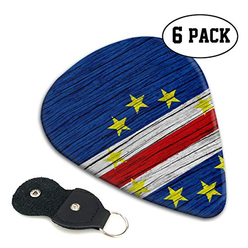 (Nice Music Flag of Cape Verde Wooden Texture Ultra Thin 0.46 Med 0.71 Thick 0.96mm 6 Pieces Each Base Prime Celluloid Ivory Jazz Mandolin Bass Ukelele Plectrum Guitar Pick Pouch Display)