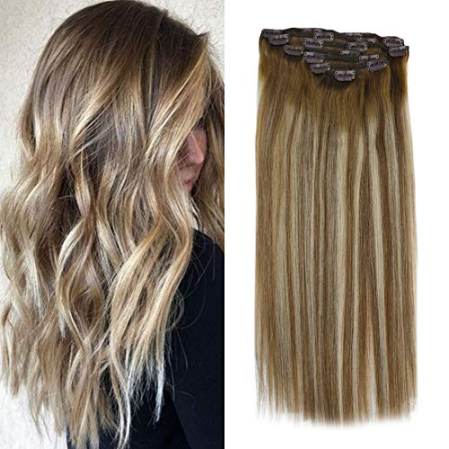 【6% Off】Sunny Clip in Hair Blonde Balayage 18 inch Full Head Set Ombre Clip in Hair Extensions Real Hair Balayage Dip Dye Light Brown Fading to Medium Blonde and Brown 120g 7pcs (Dark Blonde To Light Blonde Dip Dye)