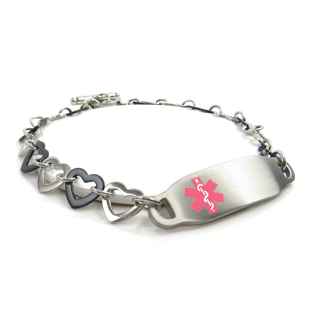 MyIDDr - Morphine Allergy Medical ID Bracelet, Steel & Black Hearts, Pre-Engraved My Identity Doctor