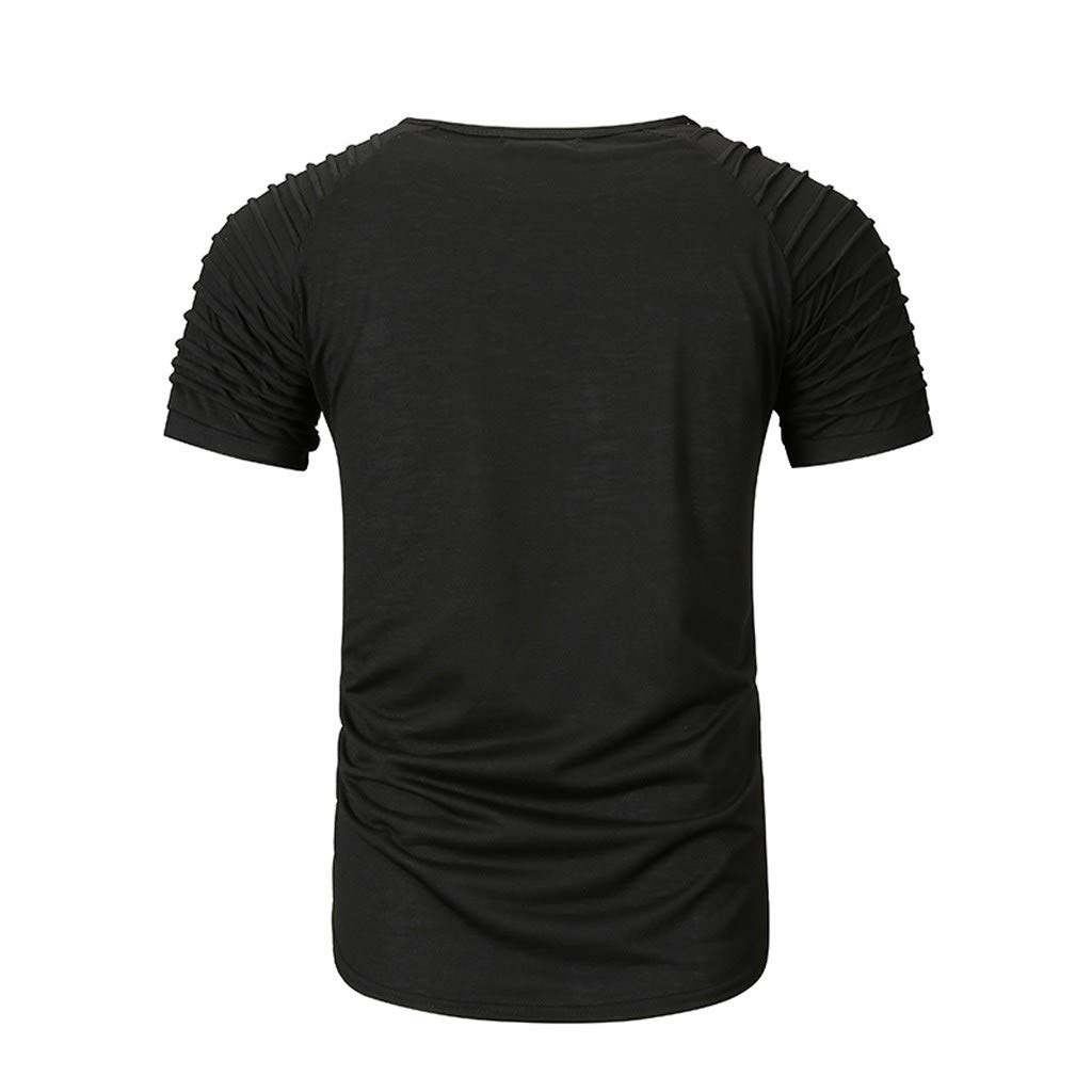 iLXHD Mens Short Sleeve Summer Casual Letter Solid Color Spliced Short Sleeve T-Shirt Blouse