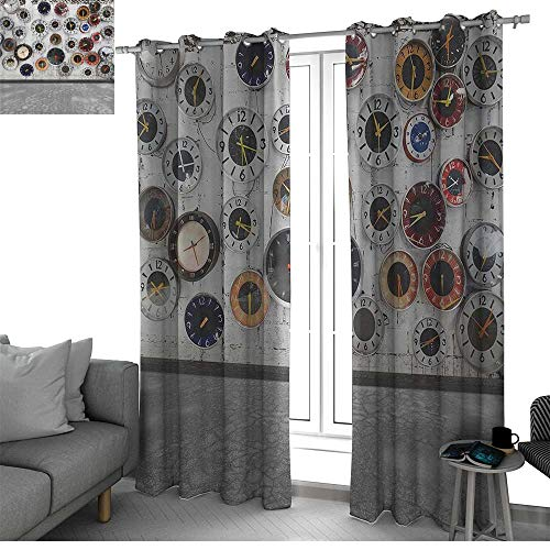 Apartment Decor Steampunk Rustic Window Treatments Draperies for Bedroom Decorations Clock Vintage Design for Women Ideas in Modern Pop Art Wall Clocks World Times window Gray White Red Black