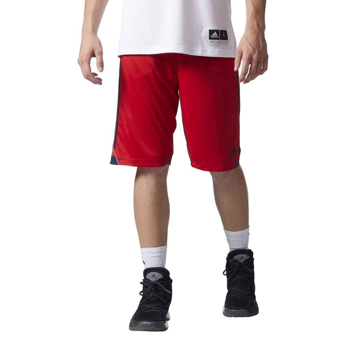 adidas Men's Basketball 3G Speed Shorts (Small, Scarlet)