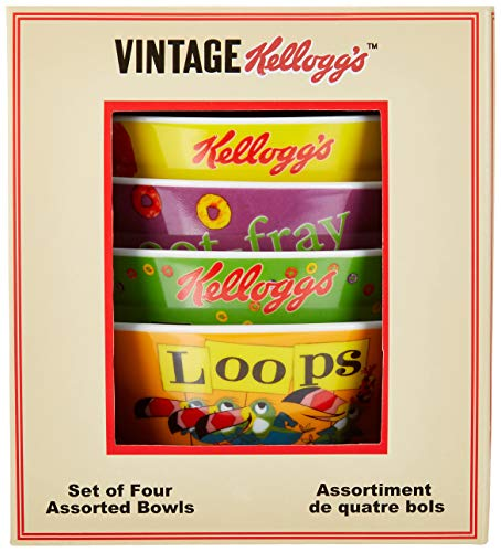 Vintage Cereal - Kellogg's Froot Loops Bowls (Set of 4) with Vintage Kellogg's Box, Multi Color