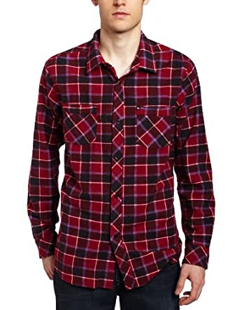 Quiksilver Men's Asteroid Flannel Shirt, Red, XX-Large