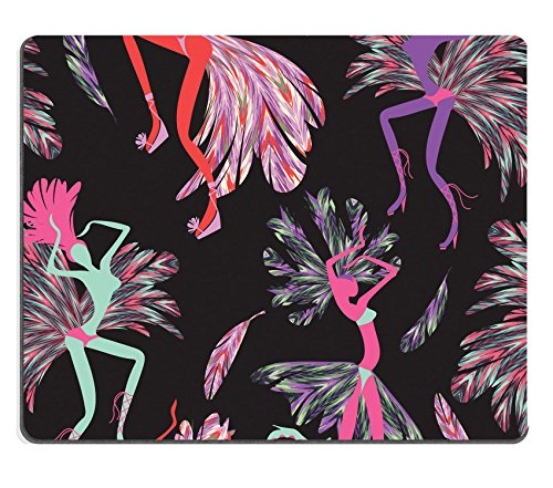 Luxlady Gaming Mousepad IMAGE ID: 37730292 Brazilian Carnival Vector seamless pattern with dancing women in costumes of feathers Bright and cheerful