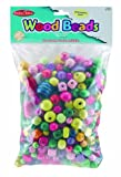 Charles Leonard Creative Arts Wood Beads, Assorted Shapes and Colors, 1 Pound Bag (59060)