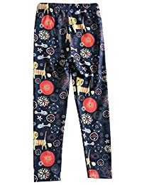 Girls Pants Floral Print Cotton Footless Legging Classic Long Trousers