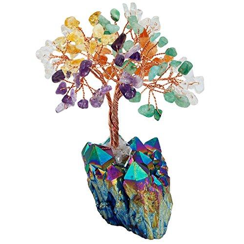 SUNYIK Natural Multicolor Crystal Money Tree,Rainbow Aura Titanium Quartz Cluster Base Bonsai Sculpture Figurine 4 Inch Rainbow Aura Quartz