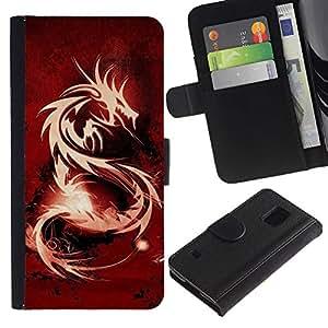 KLONGSHOP // Tirón de la caja Cartera de cuero con ranuras para tarjetas - Tribal Dragón Rojo - Samsung Galaxy S5 V SM-G900 //