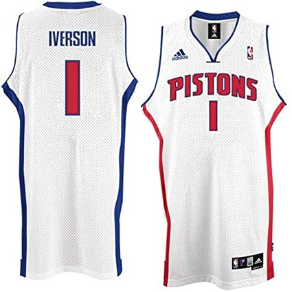 2497e1b7d14 Amazon.com : Allen Iverson #1 Detroit Pistons Swingman NBA Jersey White  Size M : Basketball Equipment : Sports & Outdoors