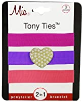 Mia Tony Ties with Charms, Hot Pink, Purple with Heart, Light Pink