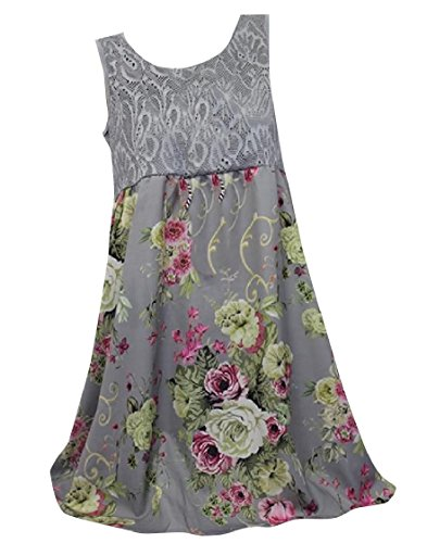 Dresses Baggy Gray Printed Trim Necklace Sleeveless Lace No Neck Coolred Women Floral O Tx5qBwPPf