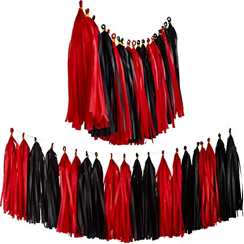 Aimto 20pcs Black and Red Shiny Tassel Garland Banner Tissue Paper Tassels for Party Decorations